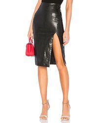 superdown Jezabel Faux Leather Midi Skirt - Black