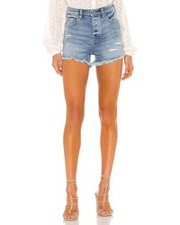 Free People Crvy Vintage High Rise Womens Denim Shorts - Blue