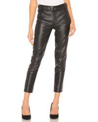 Free People - Belted Vegan Leather Skinny Pant In Black - Lyst