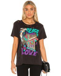 Lauren Moshi Wolf Peace Love Camel ボーイフレンドtシャツ - ブラック