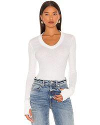 Enza Costa Cashmere U Neck Long Sleeve Bodysuit - White
