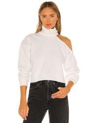 Lovers + Friends Cut Out Turtleneck Sweatshirt - White