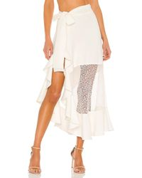 PATBO Linen Midi Wrap Skirt - White