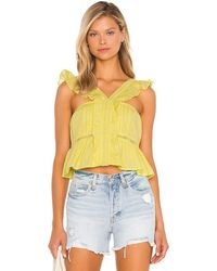 Tularosa Brit Embroidered Top - Yellow