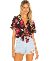 One Teaspoon X Revolve Sunrise Hawaiian Shirt - Red