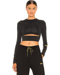 Reebok X Victoria Beckham Logo Long Sleeve Crop Top - Black