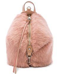 Rebecca Minkoff - Faux Fur Mini Julian Backpack In Blush. - Lyst