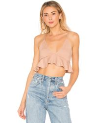 Rachel Pally - Rib Plunge Neck Ruffle Top - Lyst