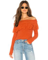 Tularosa - Fringe Sweater In Burnt Orange - Lyst