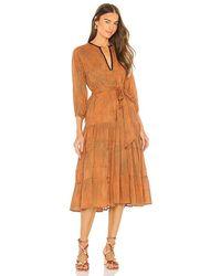 Karina Grimaldi Lola Print Midi Dress - Orange