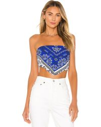 superdown Sophia Bandana Top - Blau