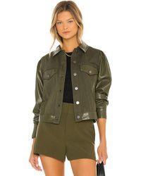 Alice + Olivia Renee Vegan Leather Jacket - Green