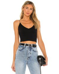 Free People Ribbed Detail Cropped Top - Grey