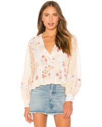 Free People - Boogie All Night Blouse In Cream - Lyst