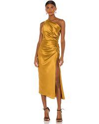 Michelle Mason Платье Миди В Цвете Охра - Многоцветный