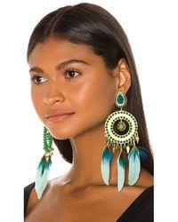 Mercedes Salazar Feather Earrings - Blue