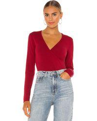 Bobi Draped Modal Jersey Bodysuit - Red
