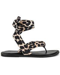 Ganni Босоножки На Шнурках В Цвете Леопард - Черный