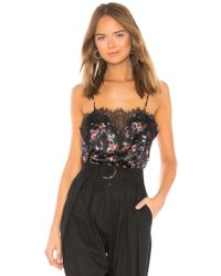 Cami NYC - Printed Lace-inset Silk Top - Lyst