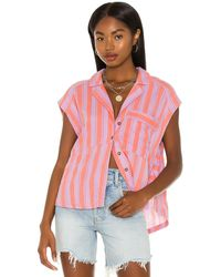 Free People Play It Cool Stripe トップ - ピンク