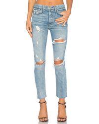 GRLFRND Karolina High-Rise Skinny Jean with Butt Slit - Blau