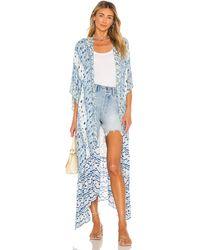Free People Ruffle Kimono - Blau