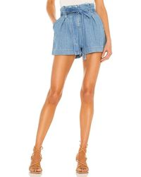 L'Agence Hillary Paperbag Shorts - Blue