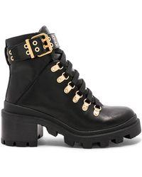 Alice + Olivia Havis Leather Chunky Combat Boots - Black