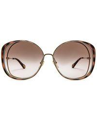 Chloé Солнцезащитные Очки Hanah Oversize Cat Eye Gradient В Цвете Shiny Classic Gold Shiny Medium Havana & Brown Gradient - Металлик