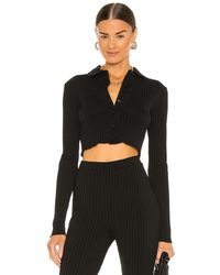 L'academie - Cropped Button Down Top - Lyst