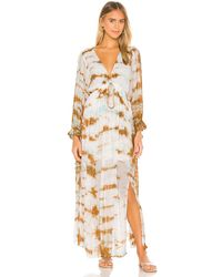 Young Fabulous & Broke Макси Платье Prairie В Цвете Robin Cayman Wash - White. Размер S (также В Xs). - Многоцветный