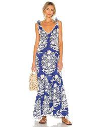 Juliet Dunn V Neck Maxi Dress - Blue