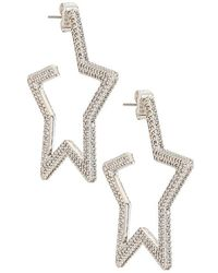 Luv Aj Pave Star Hoops - Metallic