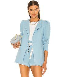 Something Navy Paula Puff Shoulder Blazer - Blue