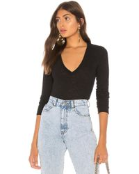 Monrow - Jersey Long Sleeve V Neck Tee In Black - Lyst