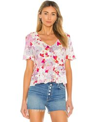 Sanctuary Топ Soft V В Цвете Hibiscus Floral - Многоцветный