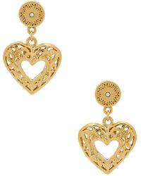 Vanessa Mooney - The Charlotte Heart Earrings In Metallic Gold. - Lyst