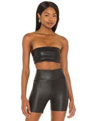 SPRWMN Leather Bandeau Top - Black