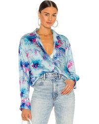 MSGM Блузка Tie Dye В Цвете Светло-голубой - Синий
