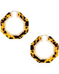 Rebecca Minkoff - Octagon Resin Hoop Earrings In Brown. - Lyst