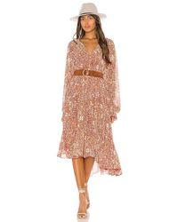 Free People Feeling Groovy Long Sleeve Ruffle Tiered Hem Floral Print Midi Dress