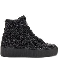 MM6 by Maison Martin Margiela - Curly Hi Top Sneakers In Black - Lyst