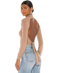 Michael Costello X Revolve Cropped Open Back Mock Neck - Natural