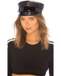 Ruslan Baginskiy Leather Baker Boy Cap - Black