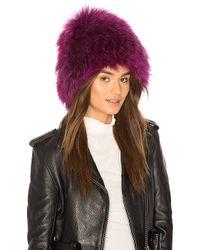 Yestadt Millinery - X Revolve Le Fluff Raccoon Fur Beanie In Purple. - Lyst