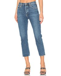 Agolde Riley hohe Straight Crop Jeans - Blau