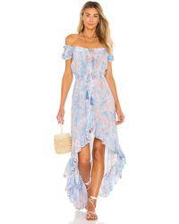 Tiare Hawaii Макси Платье Riviera В Цвете Blue Aqua & Peach Smoke - Синий