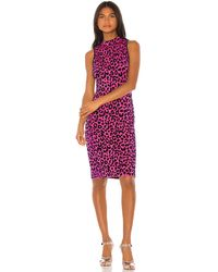 MILLY Cheetah Fitted Dress - Pink