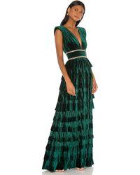 Bronx and Banco Deep V-neck Sleeveless Tiered Velvet Gown W/ Waist Trim - Green
