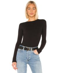 RE/DONE Ribbed Long Sleeve Bodysuit - Black